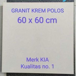 Grosir Supplier Distributor Granit lantai 60 x 60 Kia Krem Polos Pare Kediri Jawa Timur